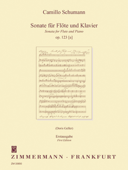 Sonata Op. 123 [a] First Edition Schumann, Camillo Flute And Piano 97900103365 Verfrissing